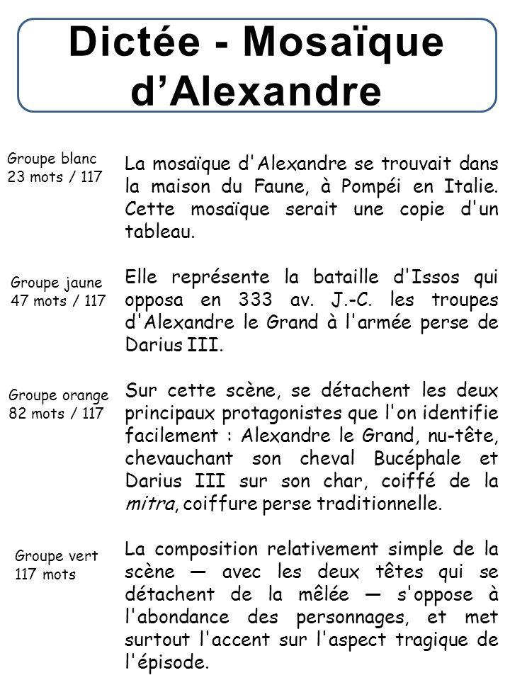 Dictée - Mosaïque d'Alexandre
