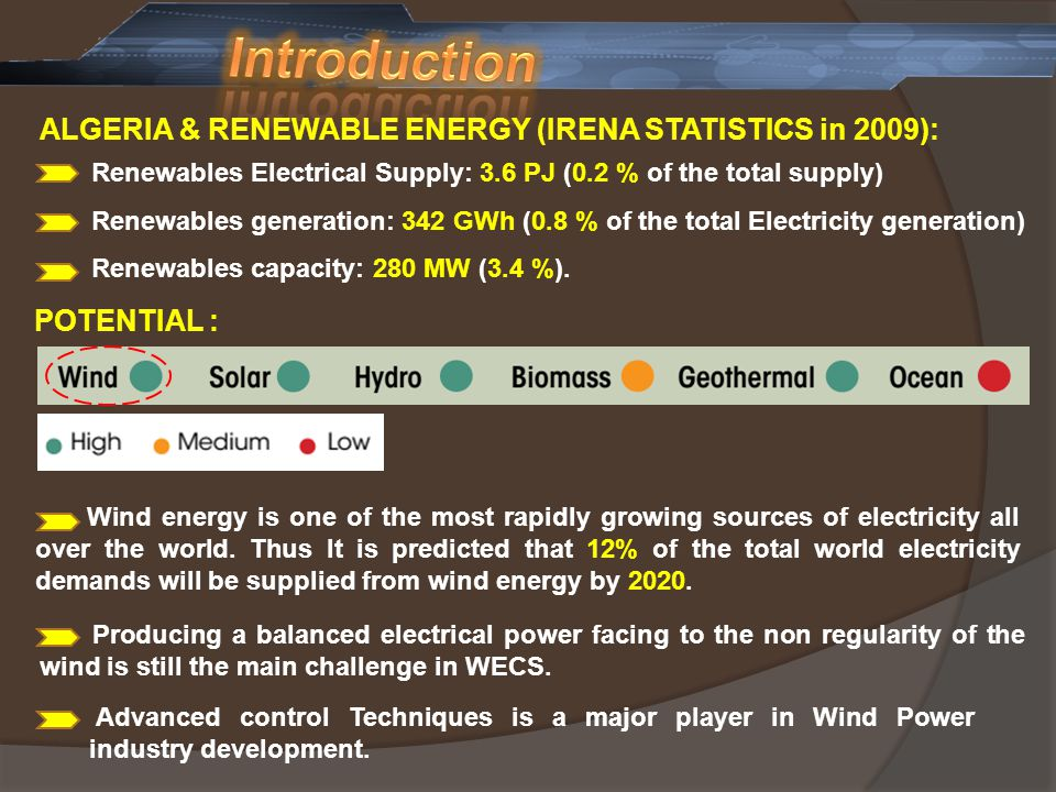 Introduction ALGERIA & RENEWABLE ENERGY (IRENA STATISTICS in 2009):