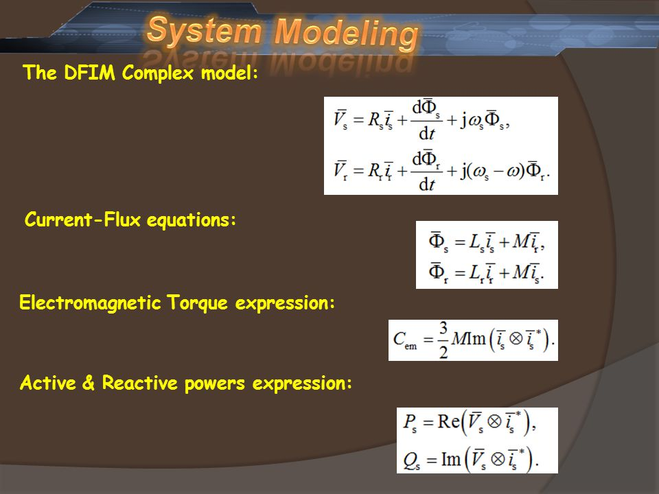 System Modeling The DFIM Complex model: Current-Flux equations: