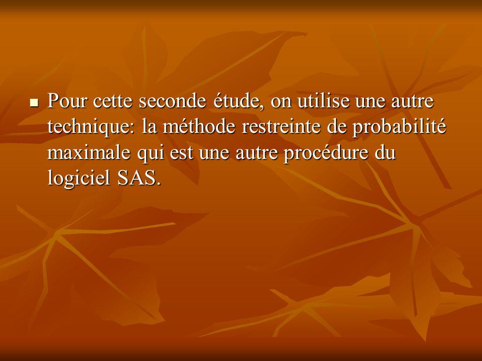 Pour cette seconde étude, on utilise une autre technique: la méthode restreinte de probabilité maximale qui est une autre procédure du logiciel SAS.