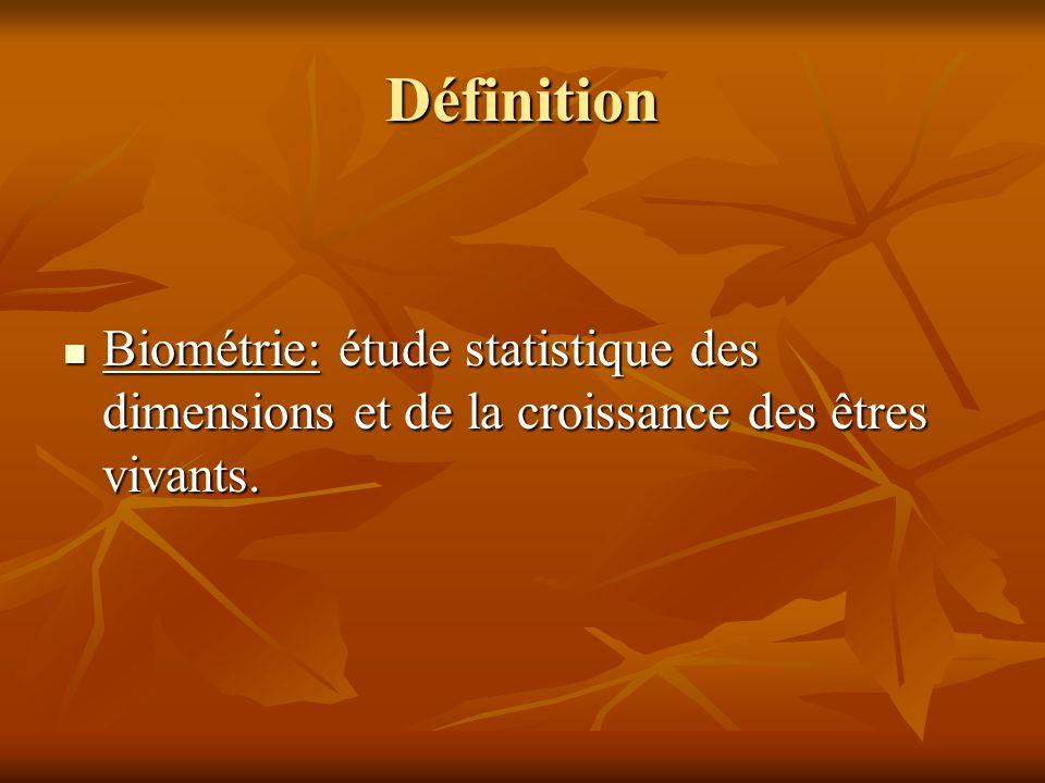 Définition Biométrie: étude statistique des dimensions et de la croissance des êtres vivants.