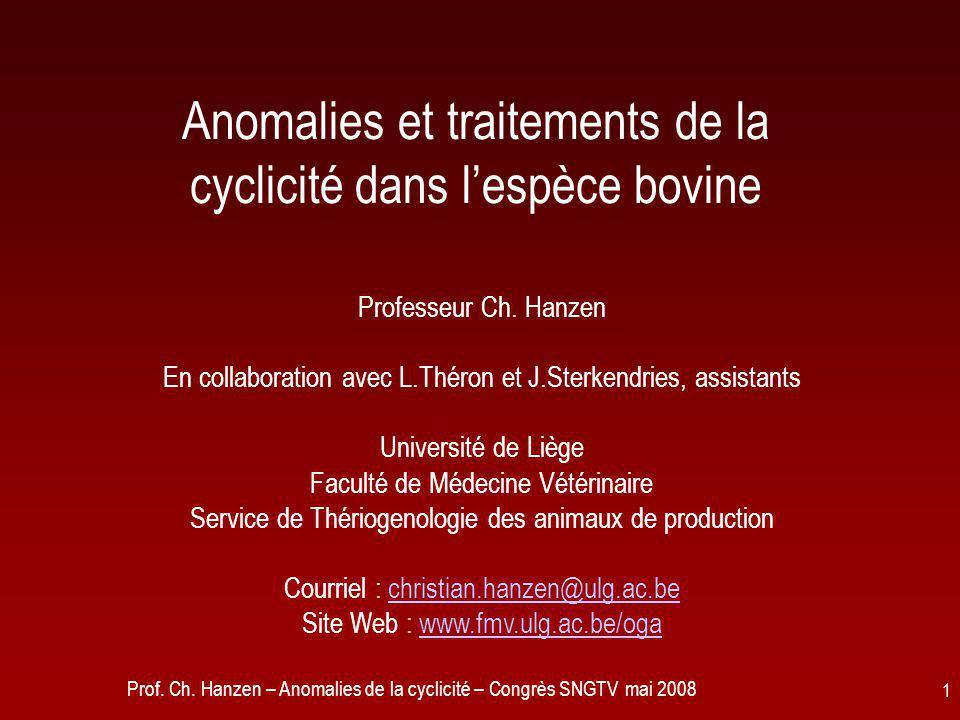 Anomalies et traitements de la cyclicité dans l'espèce bovine