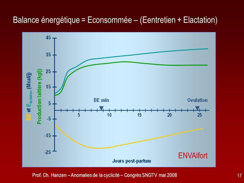 Balance énergétique = Econsommée – (Eentretien + Elactation)