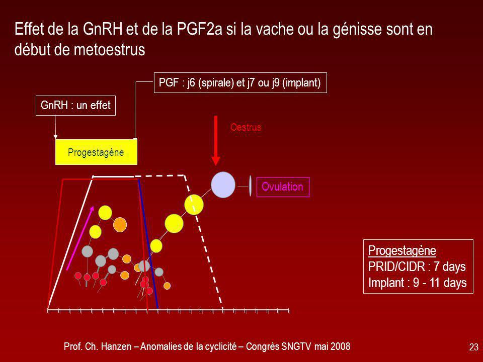 Effet de la GnRH et de la PGF2a si la vache ou la génisse sont en début de metoestrus