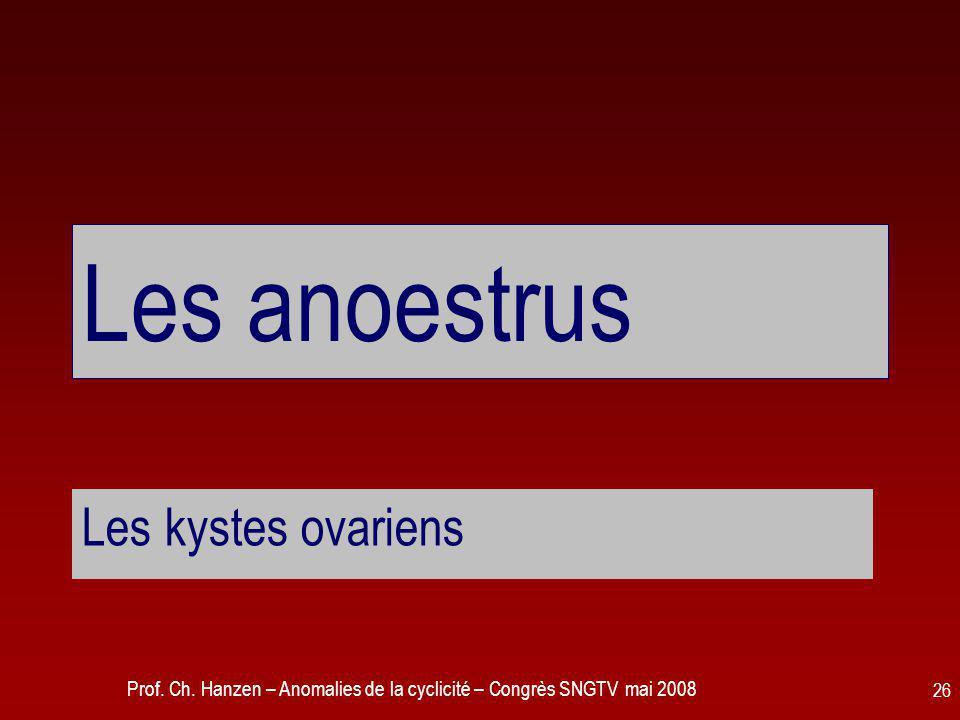 Les anoestrus Les kystes ovariens