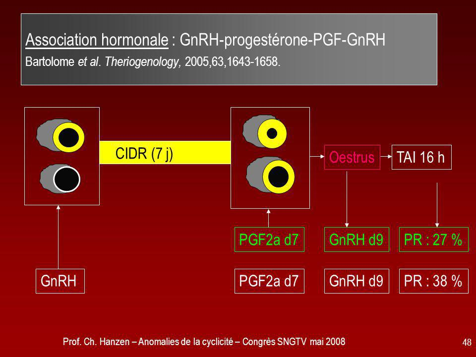 Association hormonale : GnRH-progestérone-PGF-GnRH Bartolome et al