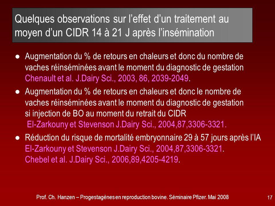 Quelques observations sur l'effet d'un traitement au moyen d'un CIDR 14 à 21 J après l'insémination