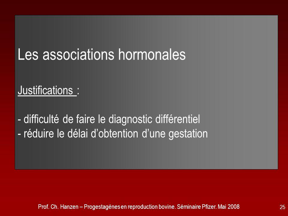 Les associations hormonales Justifications : - difficulté de faire le diagnostic différentiel - réduire le délai d'obtention d'une gestation