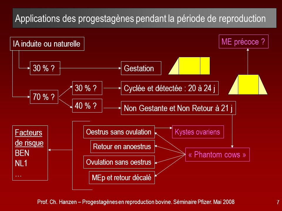 Applications des progestagènes pendant la période de reproduction