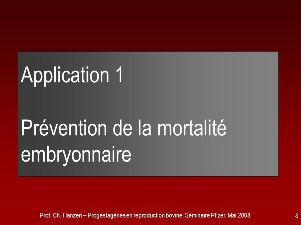 Application 1 Prévention de la mortalité embryonnaire