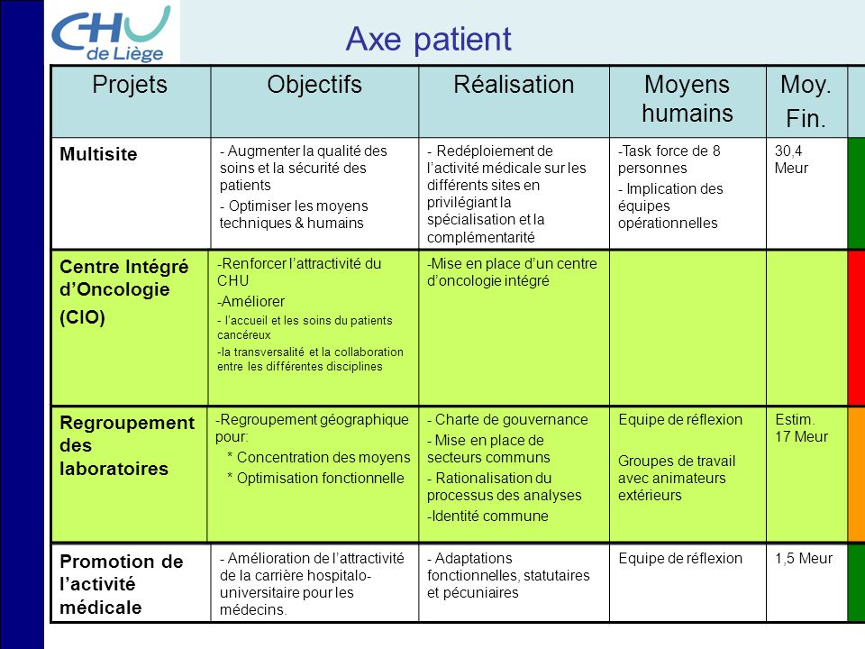 Axe patient Projets Objectifs Réalisation Moyens humains Moy. Fin.