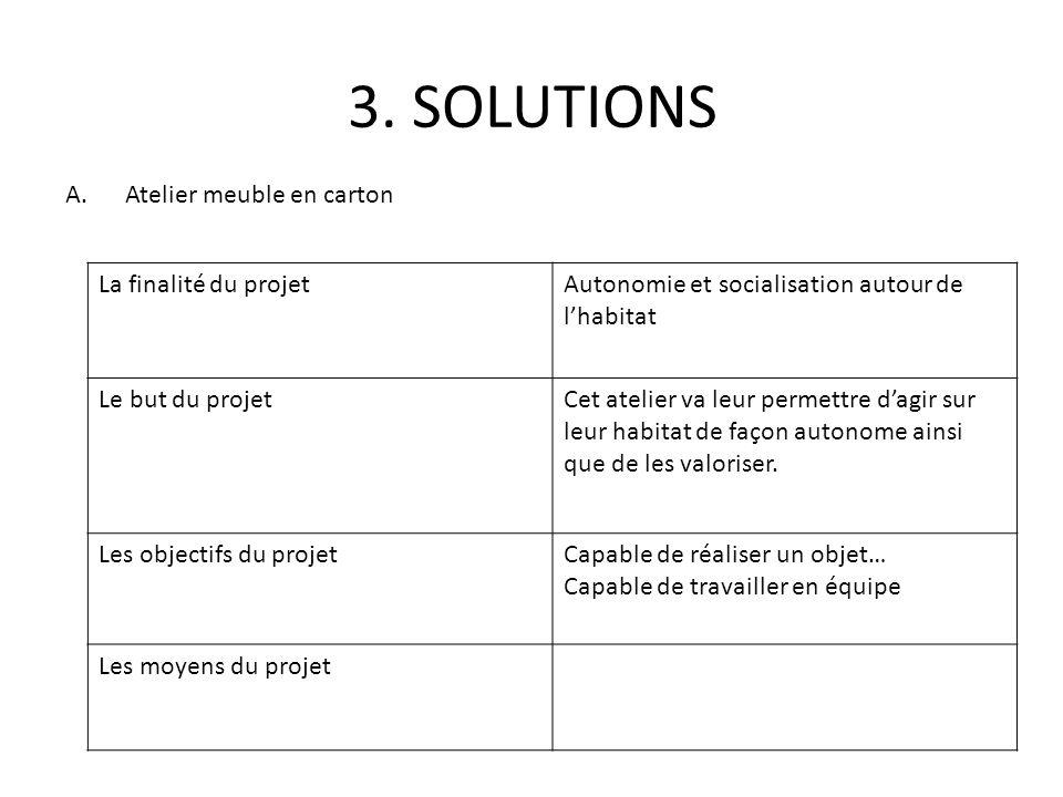 3. SOLUTIONS Atelier meuble en carton La finalité du projet