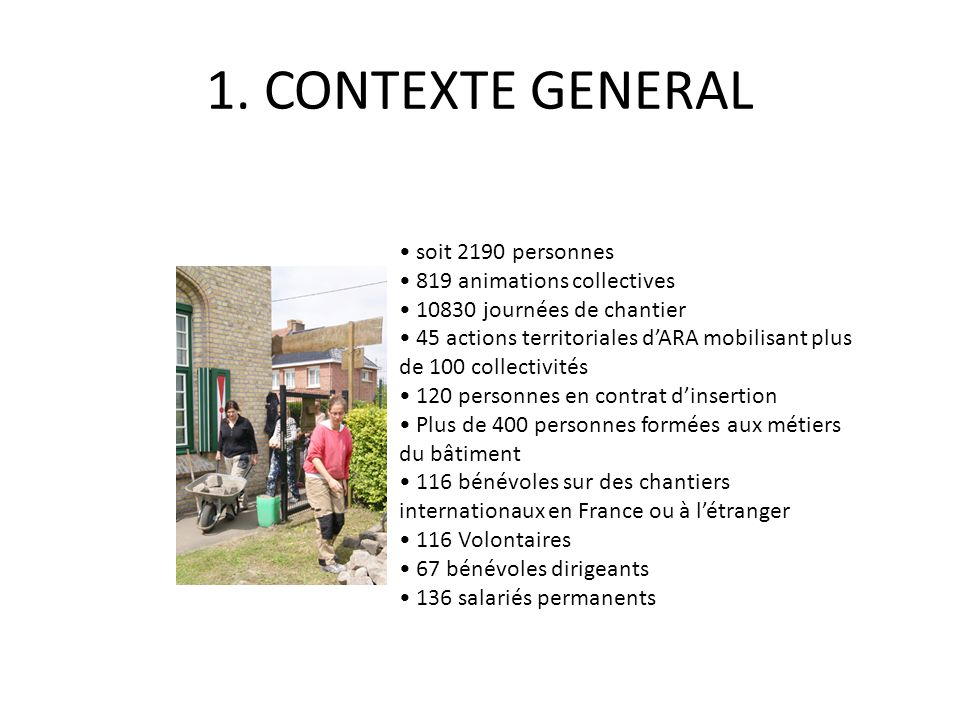 1. CONTEXTE GENERAL • soit 2190 personnes • 819 animations collectives