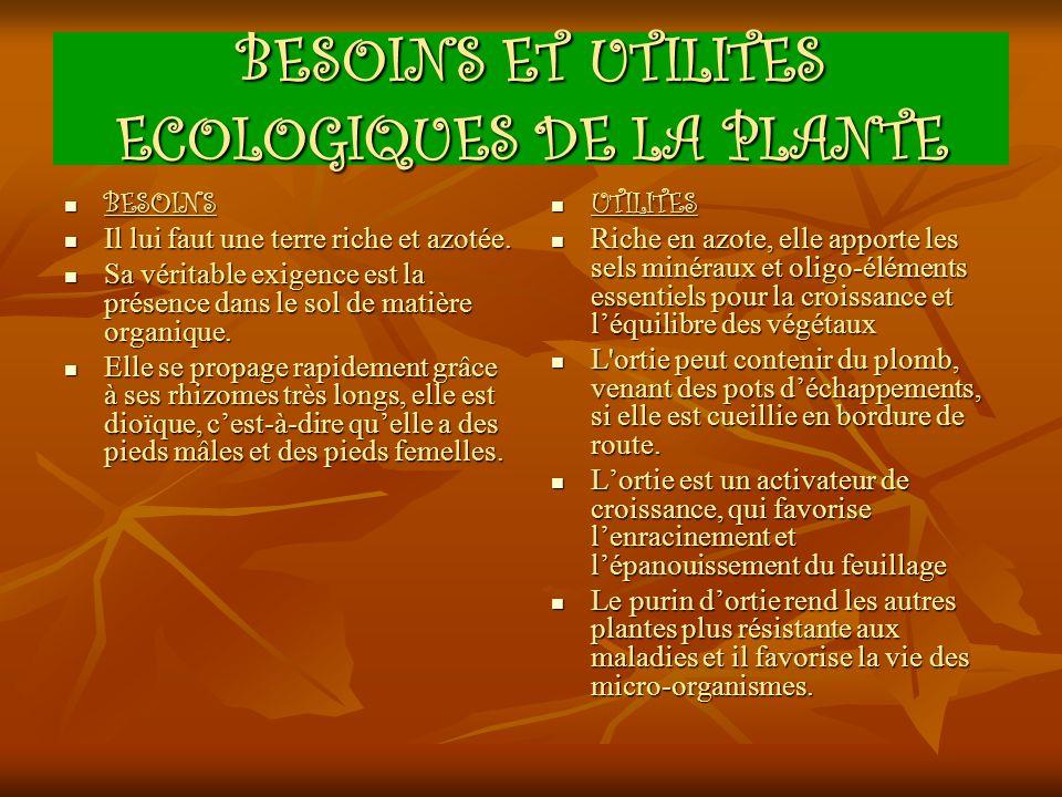 BESOINS ET UTILITES ECOLOGIQUES DE LA PLANTE