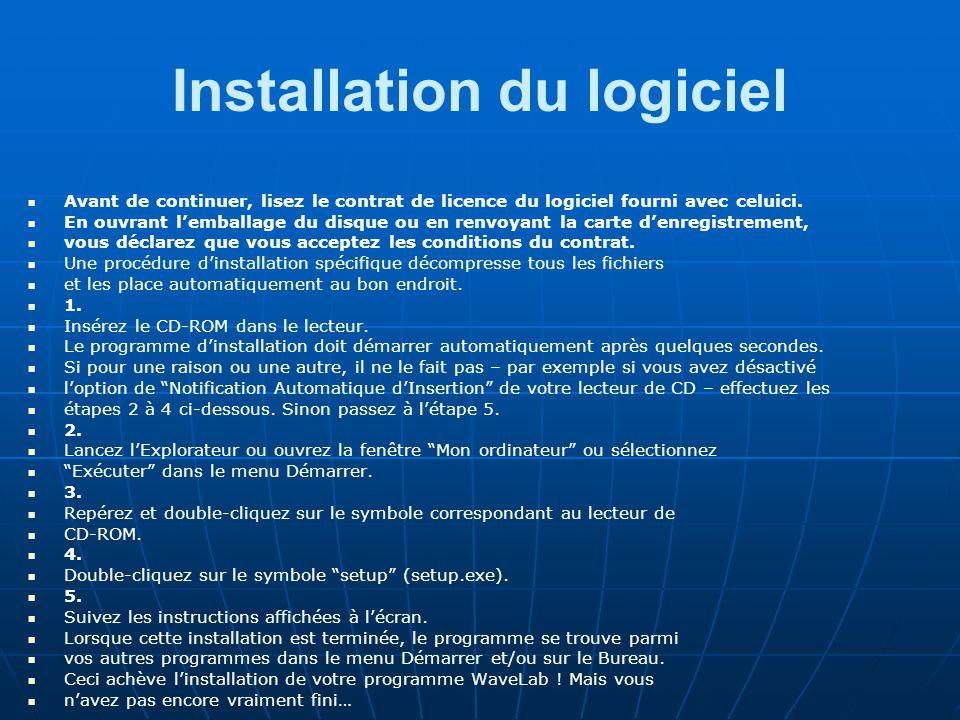 Installation du logiciel
