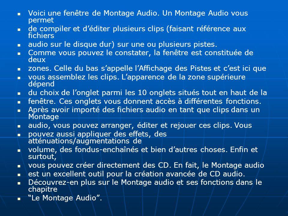 Voici une fenêtre de Montage Audio. Un Montage Audio vous permet