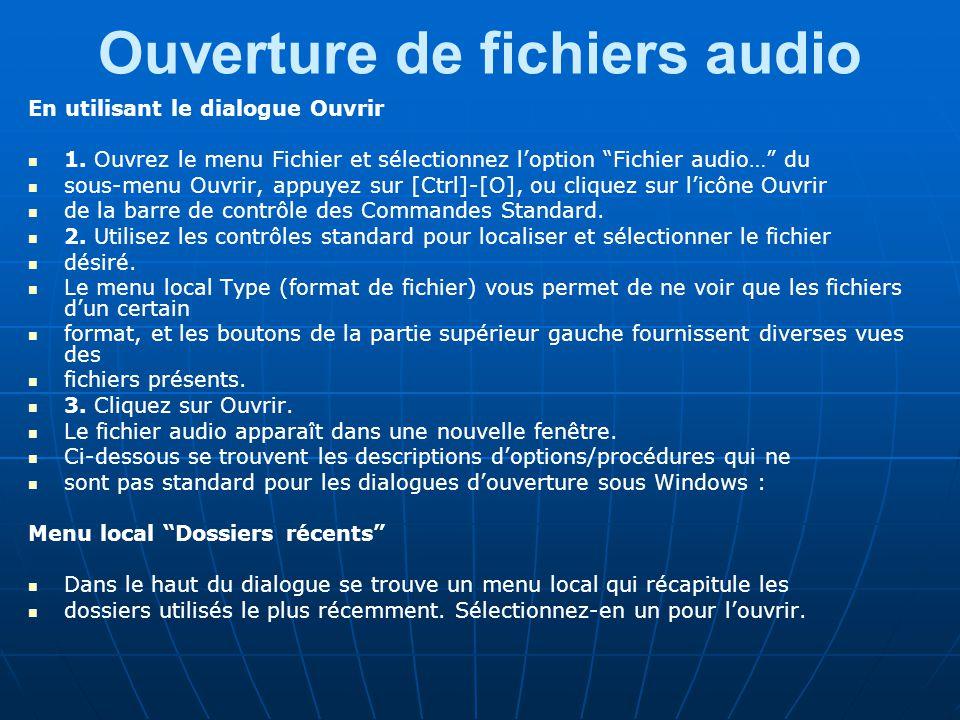 Ouverture de fichiers audio