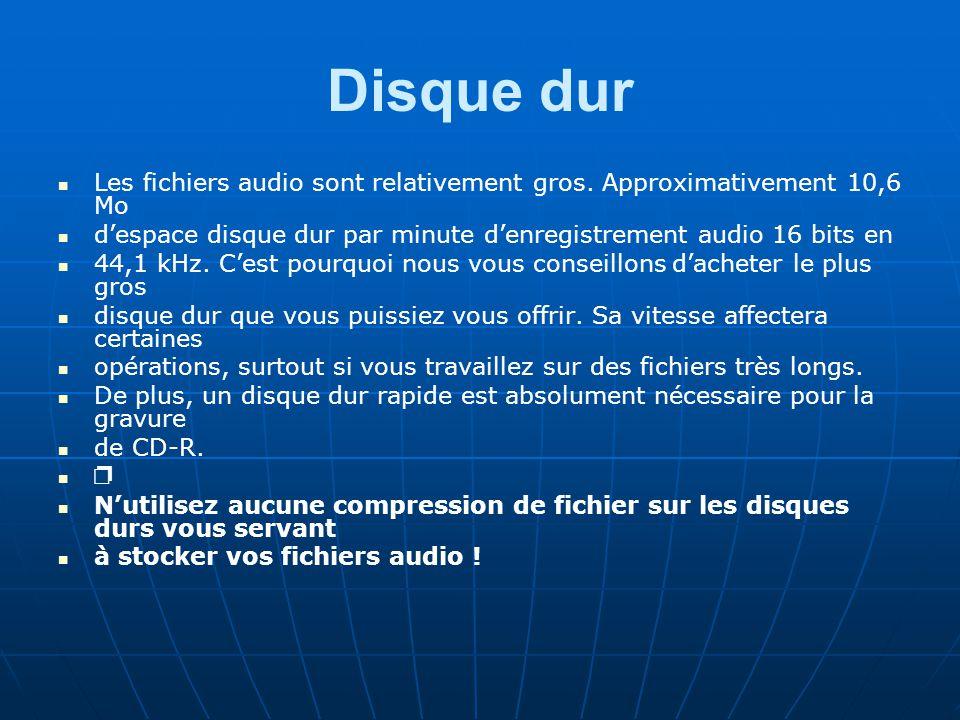 Disque dur Les fichiers audio sont relativement gros. Approximativement 10,6 Mo. d'espace disque dur par minute d'enregistrement audio 16 bits en.