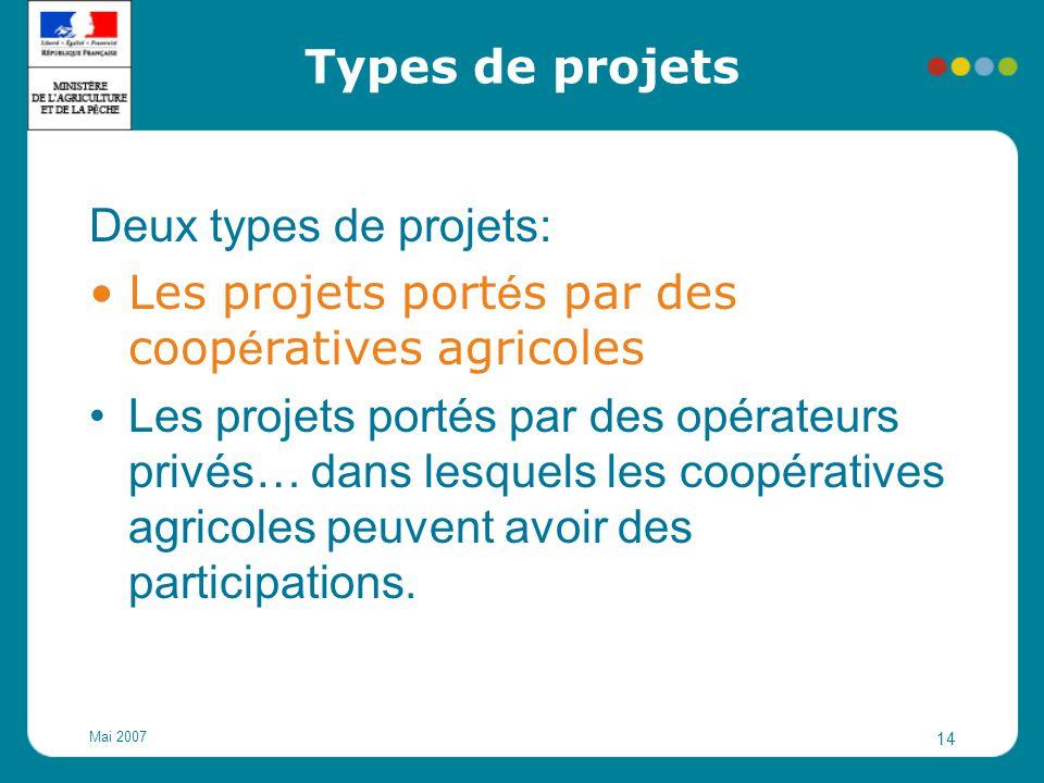 Les projets portés par des coopératives agricoles