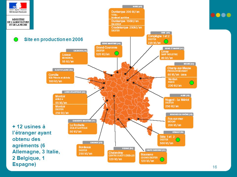 Site en production en 2006 + 12 usines à l'étranger ayant obtenu des agréments (6 Allemagne, 3 Italie, 2 Belgique, 1 Espagne)