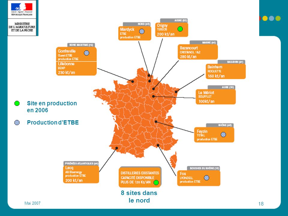 8 sites dans le nord Site en production en 2006 Production d'ETBE
