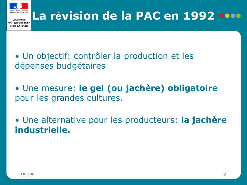 La révision de la PAC en 1992 Un objectif: contrôler la production et les dépenses budgétaires.