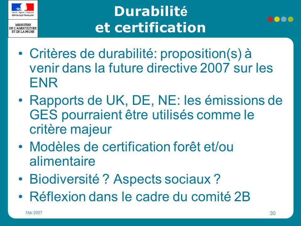 Durabilité et certification