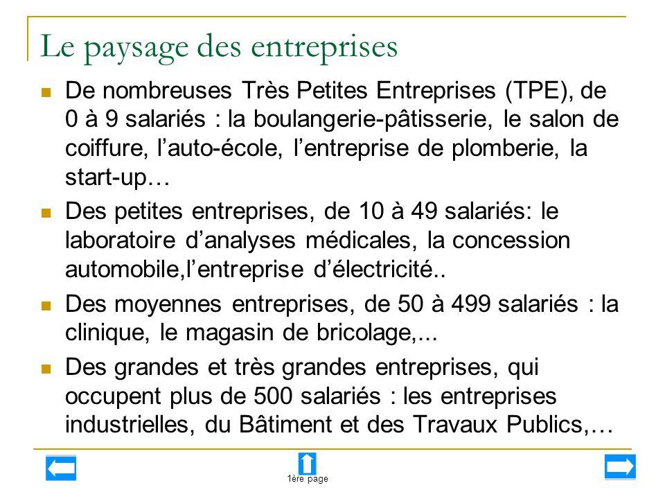Le paysage des entreprises
