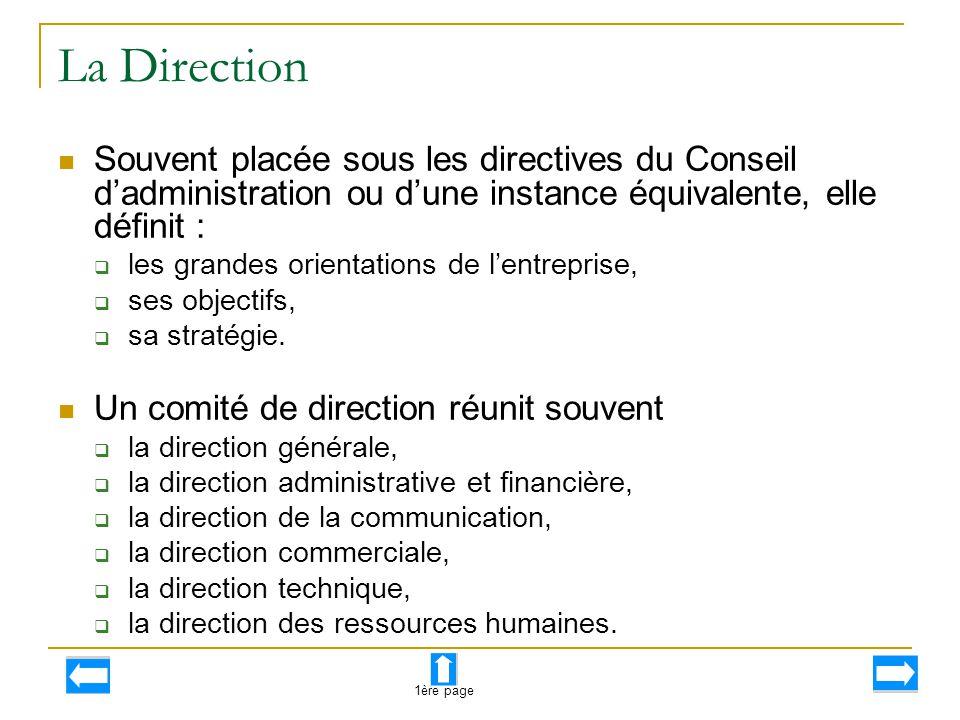 La Direction Souvent placée sous les directives du Conseil d'administration ou d'une instance équivalente, elle définit :