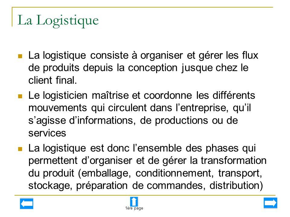 La Logistique La logistique consiste à organiser et gérer les flux de produits depuis la conception jusque chez le client final.