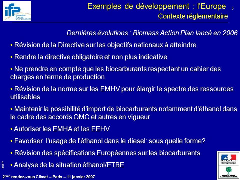 Exemples de développement : l Europe
