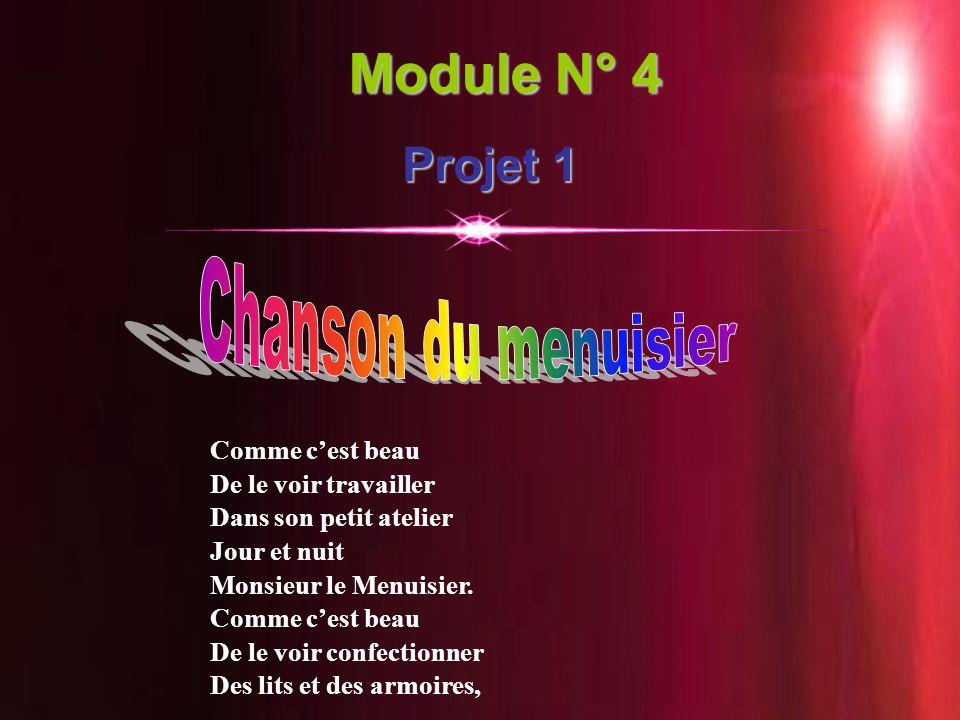 Module N° 4 Projet 1 Chanson du menuisier Comme c'est beau