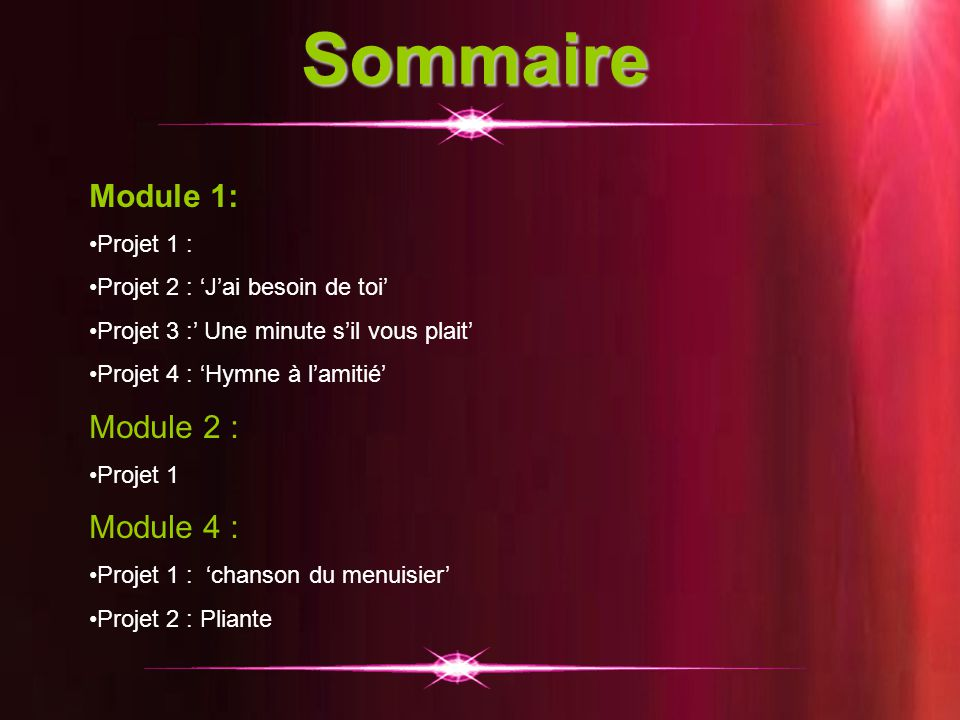 Sommaire Module 1: Module 2 : Module 4 : Projet 1 :