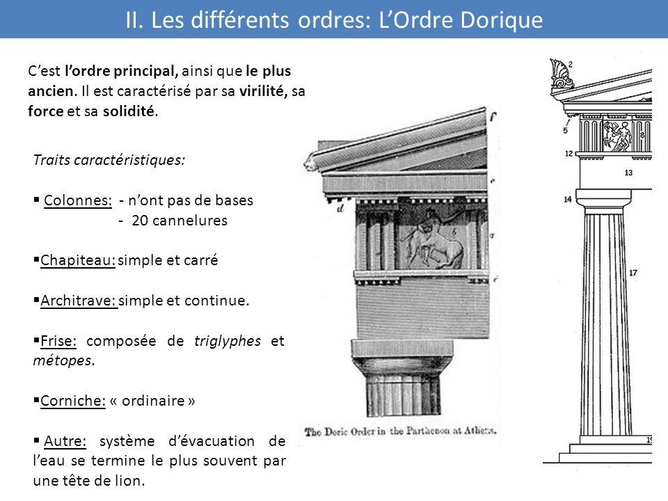 II. Les différents ordres: L'Ordre Dorique