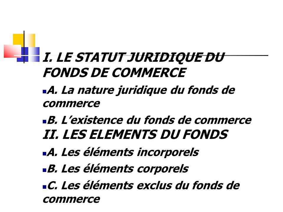 I. LE STATUT JURIDIQUE DU FONDS DE COMMERCE