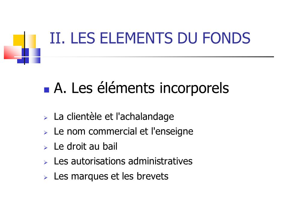 II. LES ELEMENTS DU FONDS
