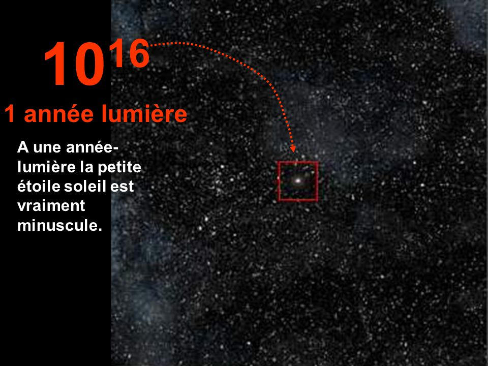 1016 1 année lumière A une année- lumière la petite étoile soleil est vraiment minuscule.