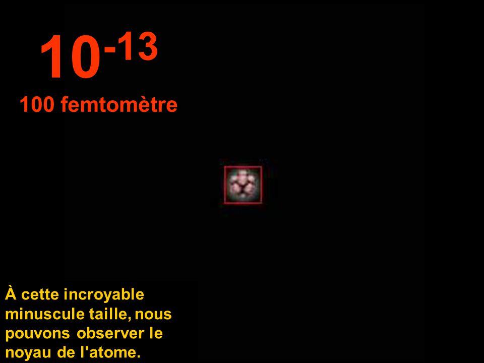 10-13 100 femtomètre.