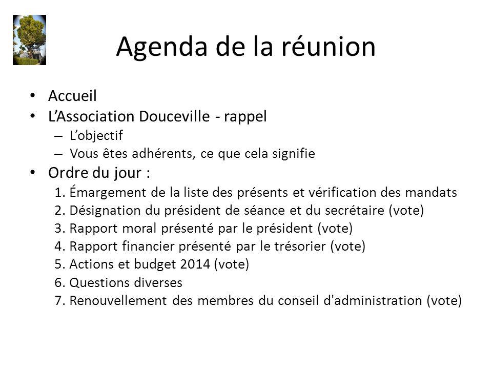 Agenda de la réunion Accueil L'Association Douceville - rappel