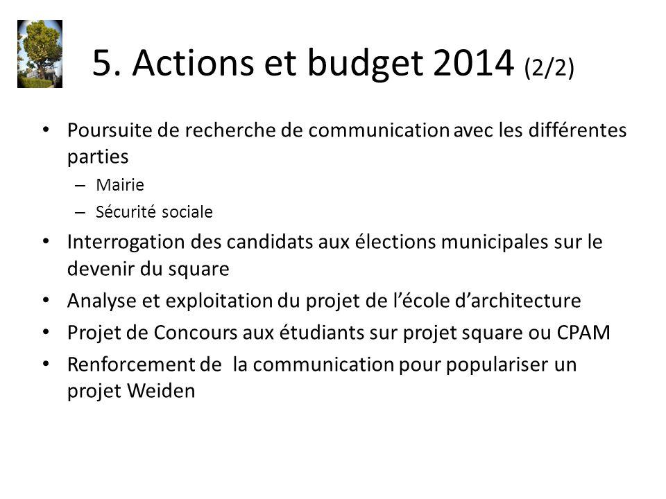 5. Actions et budget 2014 (2/2) Poursuite de recherche de communication avec les différentes parties.