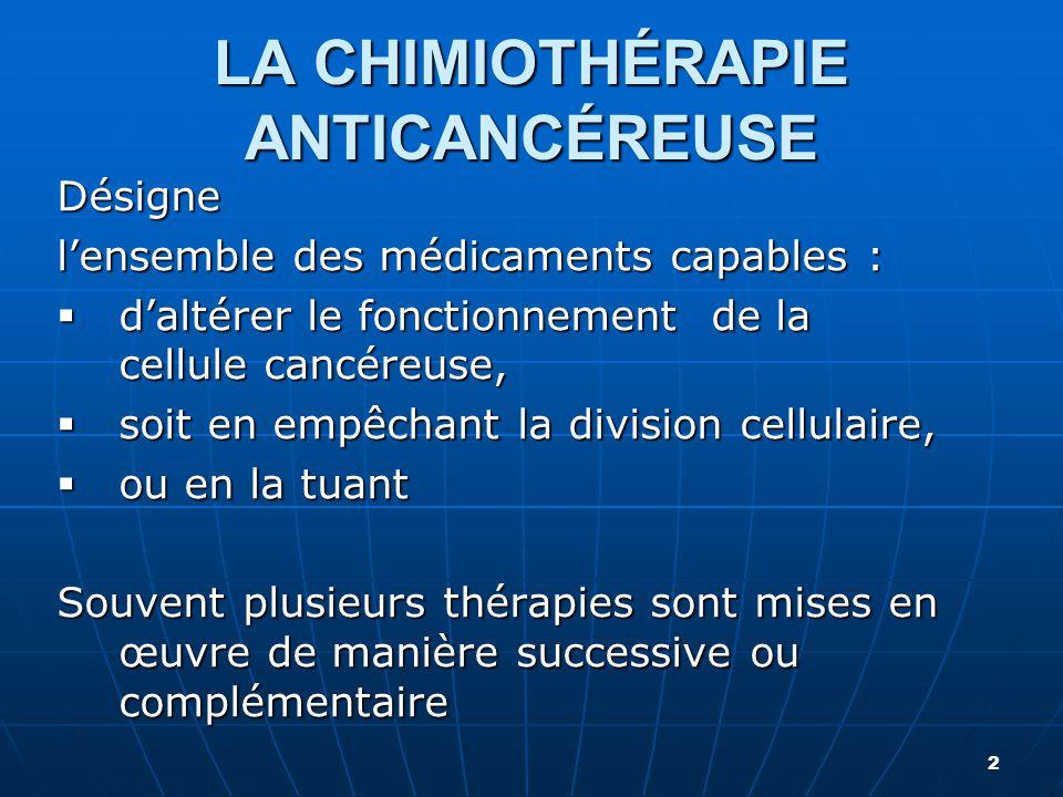 LA CHIMIOTHÉRAPIE ANTICANCÉREUSE
