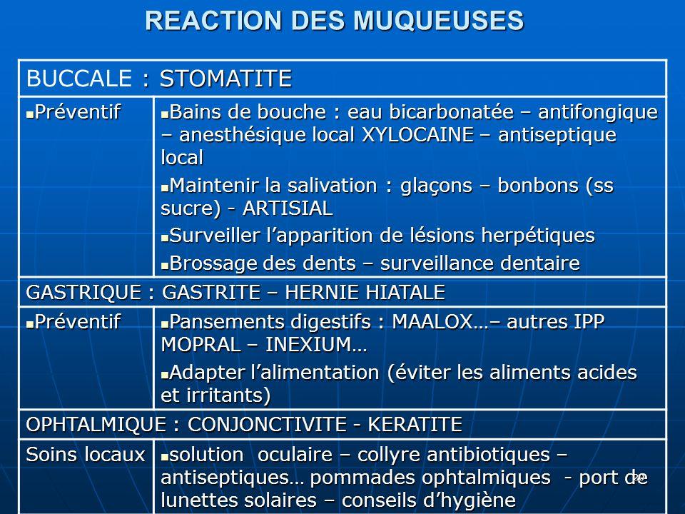 REACTION DES MUQUEUSES
