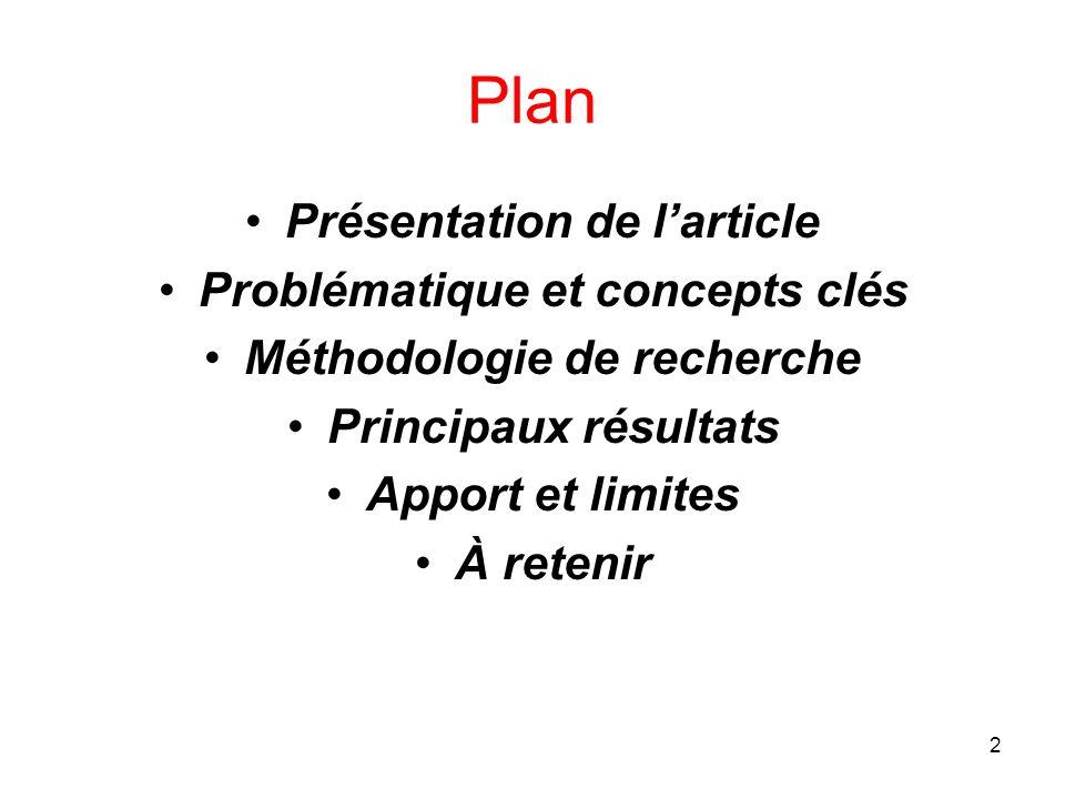 Plan Présentation de l'article Problématique et concepts clés