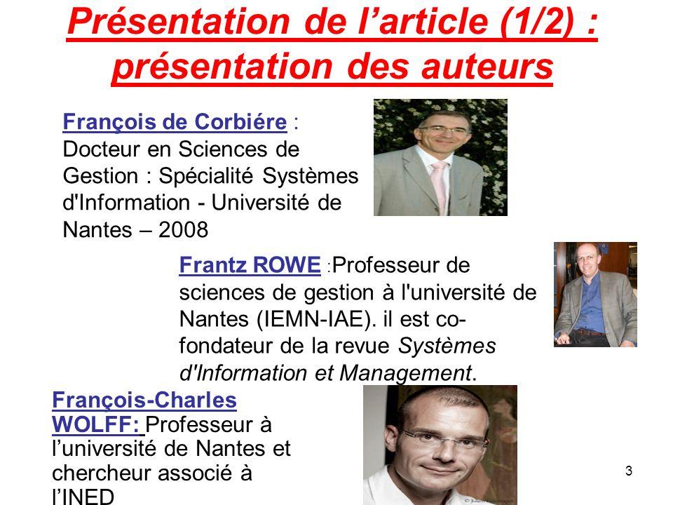 Présentation de l'article (1/2) : présentation des auteurs