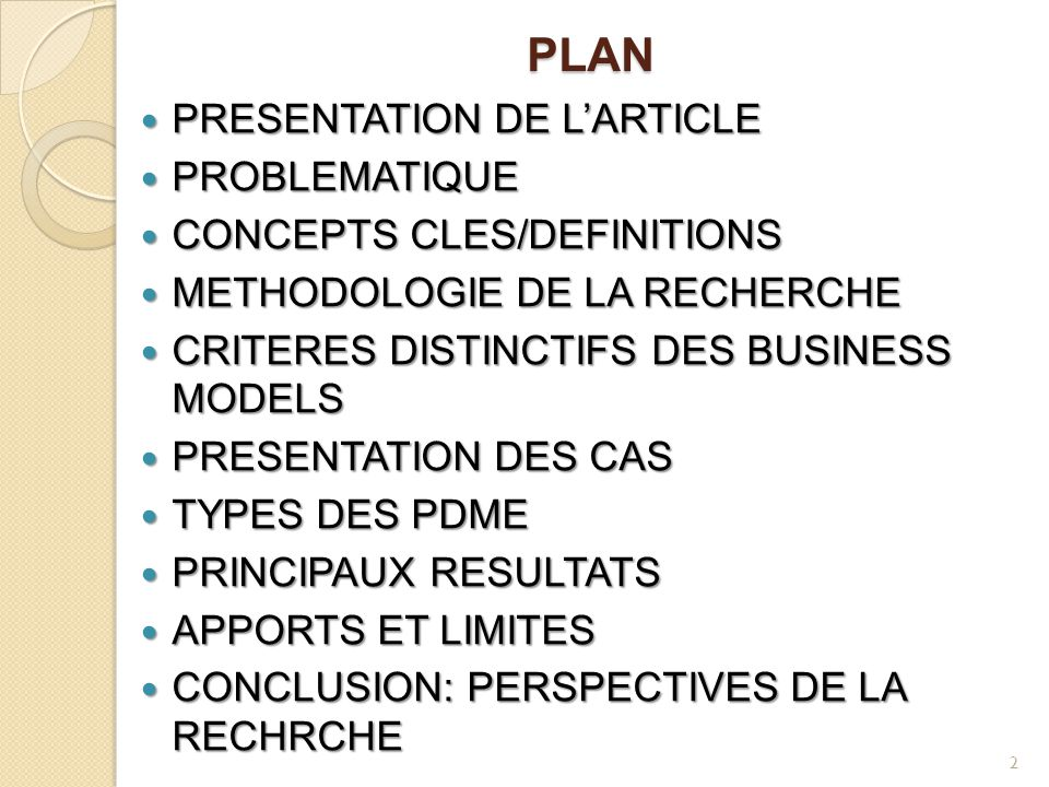 PLAN PRESENTATION DE L'ARTICLE PROBLEMATIQUE CONCEPTS CLES/DEFINITIONS