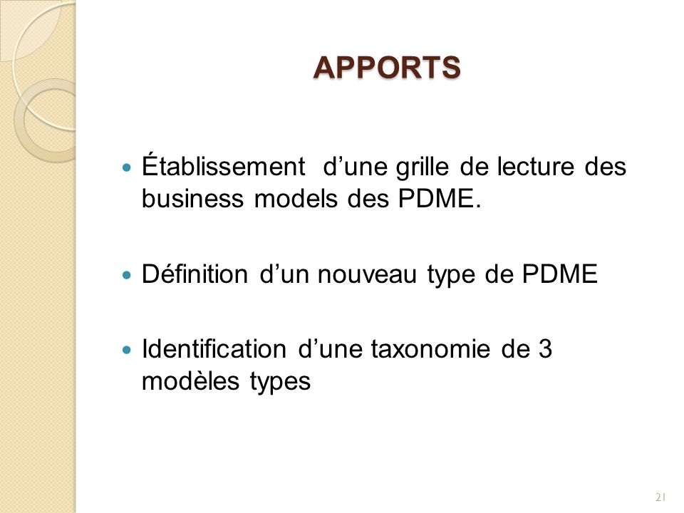 Apports Établissement d'une grille de lecture des business models des PDME. Définition d'un nouveau type de PDME.