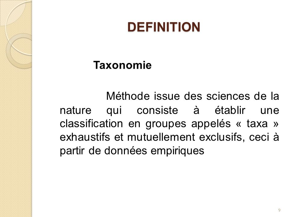 DEFINITION Taxonomie.