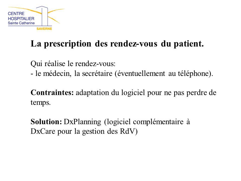 La prescription des rendez-vous du patient.