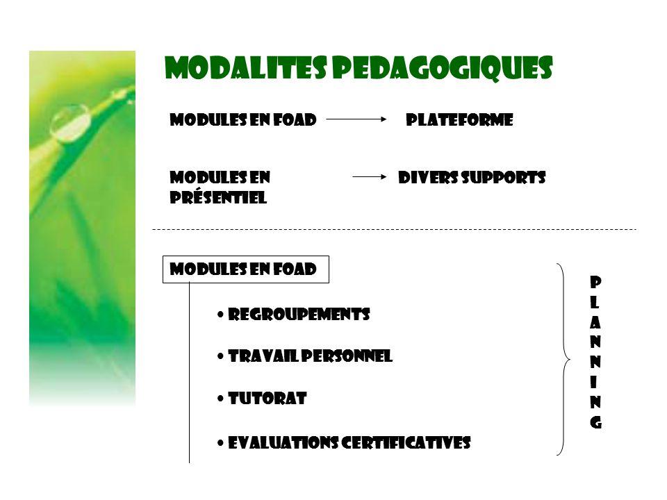 MODALITES PEDAGOGIQUES