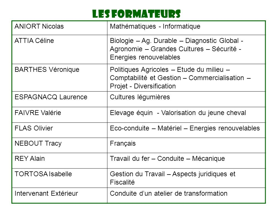 LES FORMATEURS ANIORT Nicolas Mathématiques - Informatique